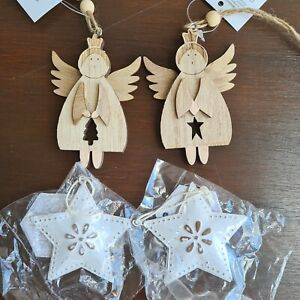 Christmas Wooden Angels and Stars Xmas Tree Hanging Decoration
