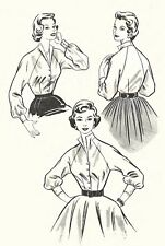 """Vintage 1950's Sewing Pattern Gorgeous Raglan Overblouse and Blouse Bust 38"""""""
