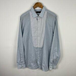 Burberry Prorsum Mens Button Up Shirt 16/41 AU S/M Blue Long Sleeve Collared