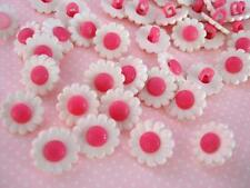 40 White/Fuchsia Daisy Flower Kid Plastic Sewing Button/Trim/Shank Sb70-Hot Pink