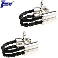 Men Black Leather Rope Shirt Cufflinks With Velvet Bag TZG Cuff Links