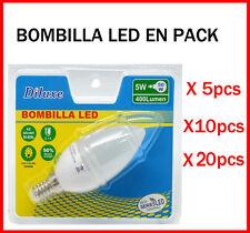 BOMBILLA DE VELA LED 5W CASQUILLO PEQUEÑO E14 LUZ CALIDA 3000K PACK DESDE 5 UDS