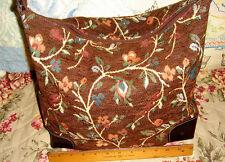 Maxx New York Floral Flower Chenille Carpetbag Leather Handbag Purse Carpet Bag