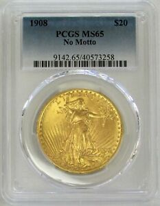 1908 GOLD USA $20 ST. GAUDENS DOUBLE EAGLE NO MOTTO COIN PCGS MINT STATE 65