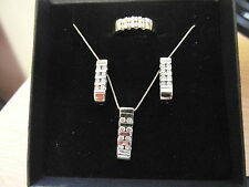 761E LADIES 14K SOLID GOLD 1.50ct VS DIAMOND RING, EARRINGS AND NECKLACE SET