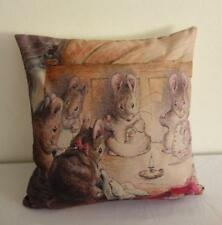 Beatrix Potter Mice Sewing Time Linen Blend Children's Cushion Cover 43cm