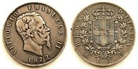Italia-Vittorio Emanuele II. 5 Liras. 1872. Milan. MBC+/VF+. Plata 24,7 g.