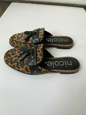 Nicole Leopard Print Loafers Size 6.5 Slides Shoes