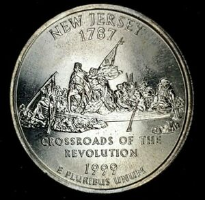 1999-P 25C State Quarter New Jersey BU CN CLAD 20ow0405 70 Cents Shipping