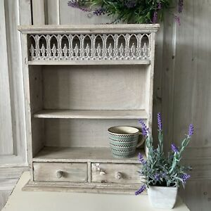 French Grey Distressed Small Wall Shelf Dresser Herb Rack Drawers Wooden Country