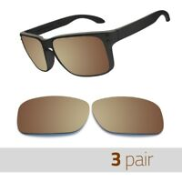 3 Pair Optico Replacement Polarized Lenses for Oakley Holbrook Sunglasses Brown