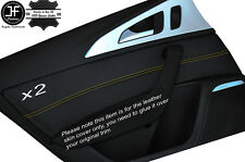Cuciture giallo 2x POSTERIORE PORTA CARD Trim cuoio pelle copertura si adatta AUDI A6 C7 11-15
