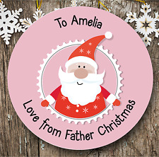 Personalised 24 Father Christmas Stickers | Gift Tags | Present Labels | Pink