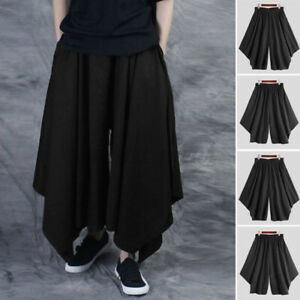 Mens Japanese Gothic Harem Pants Loose Wide Leg Hakama Trousers Skirt Bottoms US