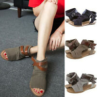Women Summer Open Toe Casual Sandals Flat Gladiator Ankle Strap Rome Pumps Shoes