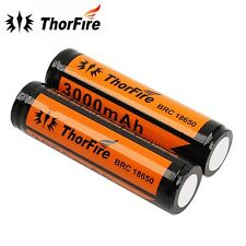 ThorFire 2x 3000mAh 3.7V 18650 Battery Protected Rechargeable Li-ion Battery
