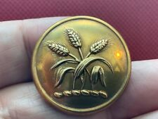4 Families ~ 3 Ears Of Rye 28.2mm Gilt Livery Coachman Button Firmin 20th C