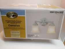 Hampton Bay Cameron 2-Light Vanity Light Fixture Chrome on/off switch b-2