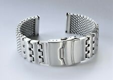 Luxury 22mm Heavy Duty Shark Mesh Brushed Stainless Steel Watch band Bracelet