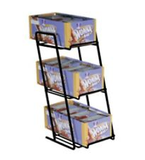 BLACK - Countertop 3 Tier Slant Back Snacks, Gum, and Candy Box Display Rack