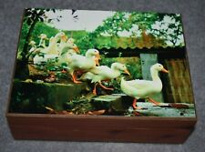 #5084 Ducks In A Row Keepsake Jewelry Home Decor Wood Cedar Box