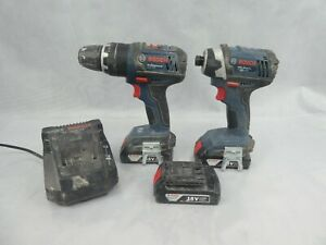 Bosch 18v Cordless Drill & Driver With 3 Batteries and Charger All Used 2015