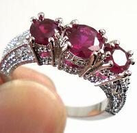 Women Fashion 925 Silver Red Ruby Gemstone Ring Wedding Bridal Jewelry Gifts