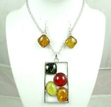 Precious Modernist COGNAC YELLOW GREEN PRESSED AMBER earrings NECKLACE set  R15