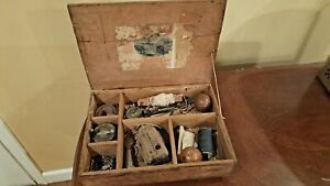 Antique wood Fishing Tackle Box as found vintage bobber lure reel Vom Hofe old