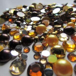 Brown Gold, Round Flatbacks, Gems, Rhinestones & Half Beads