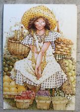 Vintage Postcard ~ Girl Holly Hobbie Picking Berries Sweden 1994
