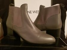 Nine West Womens Rhodes Gray Leather Booties Shoes