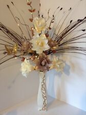 Artificial Silk Flower  Brown,Mink & Cream In Brown Ceramic Vase And Lights