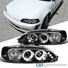 For 92-95 Honda Civic 2/3/4Dr Black LED DRL Halo Projector Headlights Head Lamps