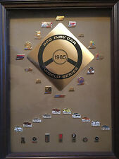 Collection of Indy Car World Series Framed Lapel Hat  Pins  Complete Set 1985