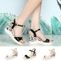 2019 Women Ladies Fashion Summer Wedges Paltform Buckle Causal Shoes Sandals