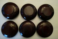 Vintage wood salad bowl set Of 6 Dark tone on base