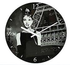 Orologi da parete nera a batteria di vetro