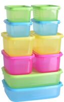 Set Of 10 Plastic Food Containers Luchbox FOod Box With Lids Airtight Sandwich