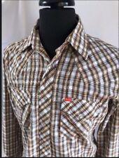 Ely Plains Mens Medium Western Brown Plaid Pearl Snap Long Sleeve Shirt 16 - 34