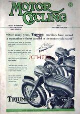 June 28 1951 TRIUMPH 'Thunderbird' Motor Cycle AD - Magazine Cover Print ADVERT