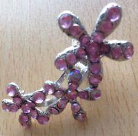 Carino Metallo Rosa con Lustrini Triplo Fiore Micro Morsetto per Capelli