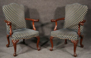 Incredible Pair Carved Mahogany Lion Head English Regency Lounge Arm Chairs