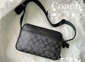 NWT COACH 91484 Men's West Camera Bag in Pebble Leather Logo $350