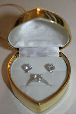 Diamonique 2.7ct tw Stud Earrings & Ring (size N) Set with Heart Box - New