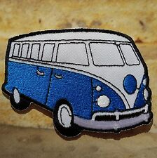 Ecusson Patch brodé thermocollant voiture combi VW van - bleu