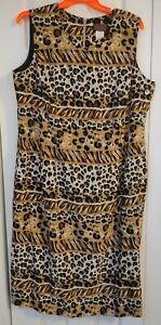 Women's Tank Dress-Leopard Colors Print-Zip Back-Button Side-Plus Size 22W-Lisa