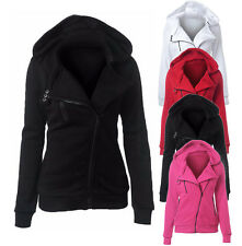 Womens Ladies Plain Hoodie Sweatshirt Hooded Coat Jumper Zip Jacket Blouse