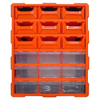 18 Drawer Double Storage Cabinet Multi Unit Box Workshop Handy Crafts Organizer