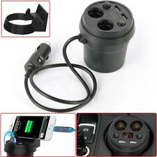 Car Dual Cigarette Lighter 2 USB Charger Splitter Stand Charging Cup Holder